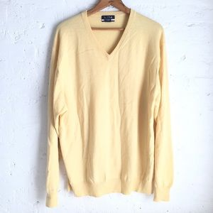 Jos. A. Bank yellow cashmere v-neck sweater